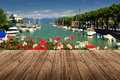 Peschiera del garda on lake in italy with wood floor Royalty Free Stock Photos