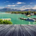 Peschiera del garda on lake in italy with wooden floor Royalty Free Stock Photos
