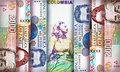 Peso bill background colombian bills creating a colorful Royalty Free Stock Images