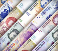 Peso wall background argentinean bills creating a colorful Royalty Free Stock Photography