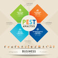 Pest analysis strategy diagram with business icons Stock Photos