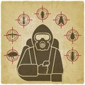 Pest Control Exterminator in protective suit silhouette surrounded by insect pest icons on vintage background Royalty Free Stock Photo