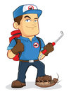 Pest control exterminator worker clipart picture of an cartoon character Stock Photography