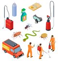 Pest control isometric. Insect fumigation rodent poison exterminator specialist 3d sanitary disinfection pest
