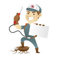 Pest control service killing cockroach and holding business card