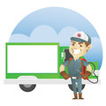 Pest control service standing in front of exterminator truck