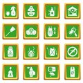 Pest control tools icons set green square vector Royalty Free Stock Photo