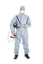 Pest control worker with pesticides sprayer in protective workwear over white background Stock Photo