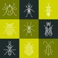 Pest line icon set