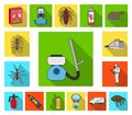 Pest, poison, personnel and equipment flat icons in set collection for design. Pest control service vector symbol stock