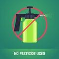 Pesticide spray in prohibition sign vector illustration