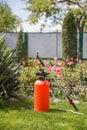 Pesticide sprayer lawn and garden fertilizer Stock Photo