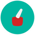 Pestle and mortar cute icon in trendy flat style on color background. Kitchenware symbol for your design, logo, UI. Vecto