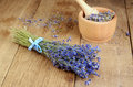 Pestle and mortar with lavender Royalty Free Stock Photography