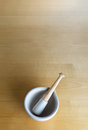 Pestle and Mortar on Wood Stock Images