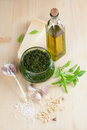 Pesto with ingredients freshly made on wooden board Stock Images