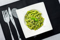 Pesto pasta from above. Royalty Free Stock Photo