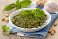 Pesto sauce bowl of basil Stock Photography
