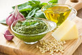 Pesto sause basil sauce and fresh ingredient on wooden background Royalty Free Stock Photo