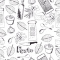 Pesto seamless pattern delicious fresh sauce Royalty Free Stock Image