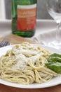 Pesto Spaghetti Dinner Royalty Free Stock Photo