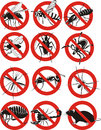 Pests icon warning sign pest control invasion species social insects Stock Images