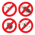 Pests in stop sign cartoon mosquito cockroach flea and fly vector icons Royalty Free Stock Photos