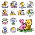 Pet badge vector graphic sticker set domestic insignia cat dog veterinary animal sticker illustration Royalty Free Stock Photo