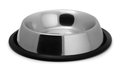 Pet bowl empty metal on white Stock Image