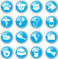 Pet care icon set blue round Royalty Free Stock Photo
