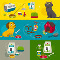 Pet care object compositions, vector cartoon illustration, cat dog food and stuff Royalty Free Stock Photo