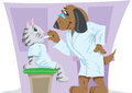 Pet doctor veterinarian or examining a kitten or cat Royalty Free Stock Photos