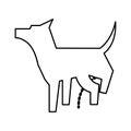 Pet dog peeing mascot silhouette