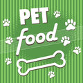 Pet food abstract colorful background with paw prints bone and the text written with white letters Stock Images