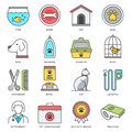 Pet food and accessories flat line icon set abstract vector of color icons for modern style illustrations design elements for a s Royalty Free Stock Photos