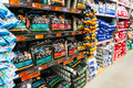 Pet food shelves in hornbach store romania Royalty Free Stock Image