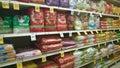 Pet food on shelves tom thumb store Stock Image