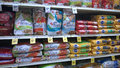 Pet food on store shelves tom thumb Royalty Free Stock Photos