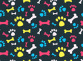 Pet footprints pattern cool background with dog paw prints and bones vector seamless texture Stock Photo