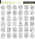 Pet friend outline concept symbols. Perfect Pet shop thin line icons. Modern stroke linear style illustrations set.