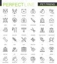 Pet friend thin line web icons set. Pet shop stroke outline icon design.