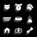 Pet icons set of on black background vector eps illustration Stock Photography