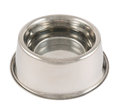 Pet s dog metal bowl isolated steel glossy filled with water over white background Royalty Free Stock Photography