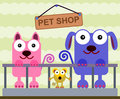 Pet shop cartoon illustration of animals inside a Royalty Free Stock Photo