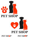 Pet shop icon with heart and paw Stock Photo