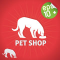 Pet shop illustration with green sticker Royalty Free Stock Photos