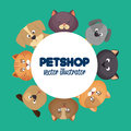 pet shop poster with lovely cats and green background