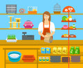 Pet shop seller at counter in store flat illustration