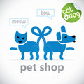 Pet shop symbol vector illustration with sticker Royalty Free Stock Images