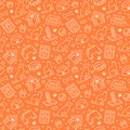 Pet shop vector seamless pattern with flat line icons of dog house, cat food, food bowl, puppy toys, animal paw. Orange Royalty Free Stock Photo